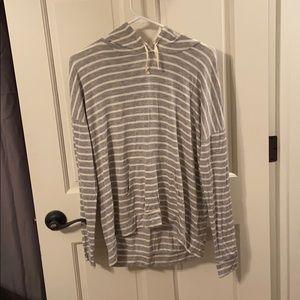 Gray and white striped sweatshirt